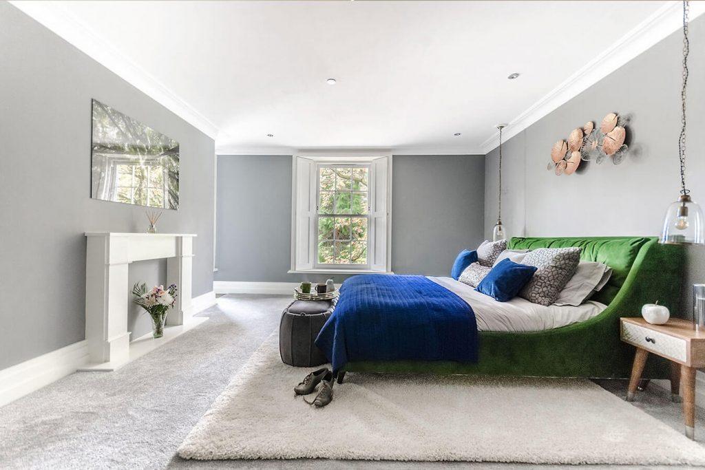 master bedroom blue green