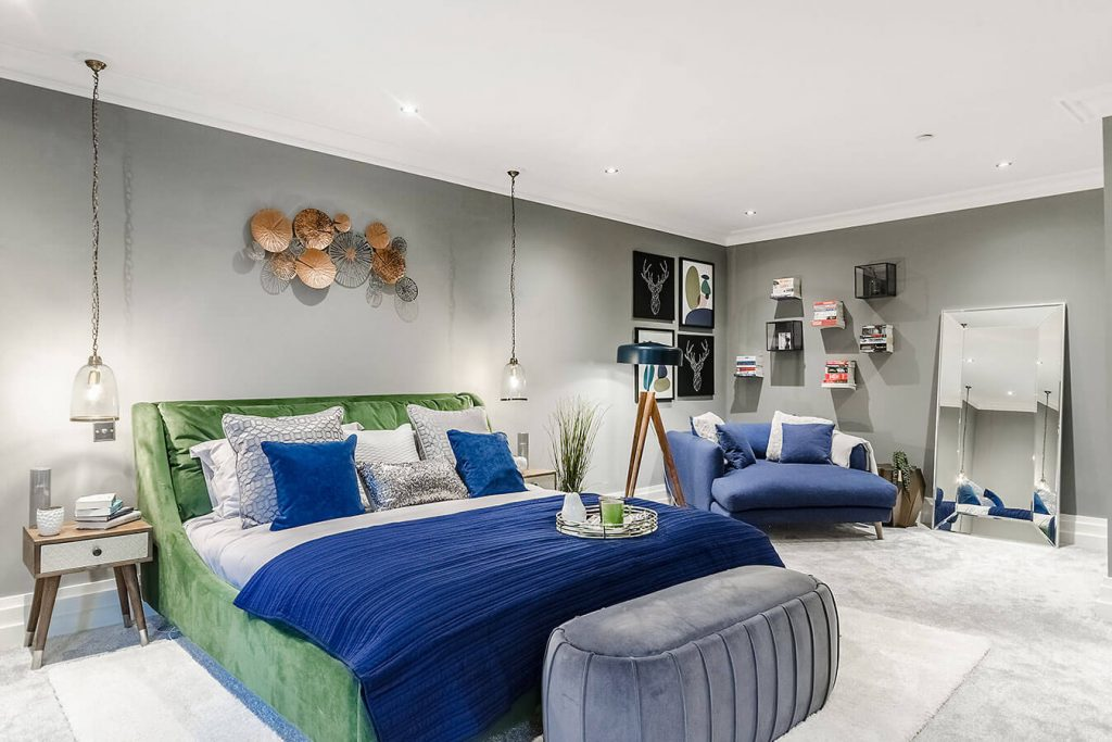 master bedroom green blue